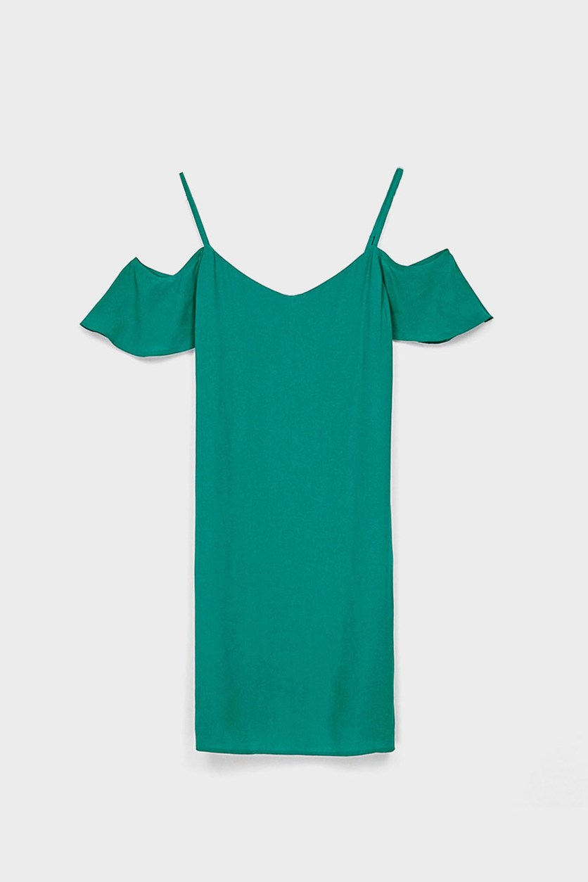 Women's Shift Dress With Cap Sleeves Dress, Teal