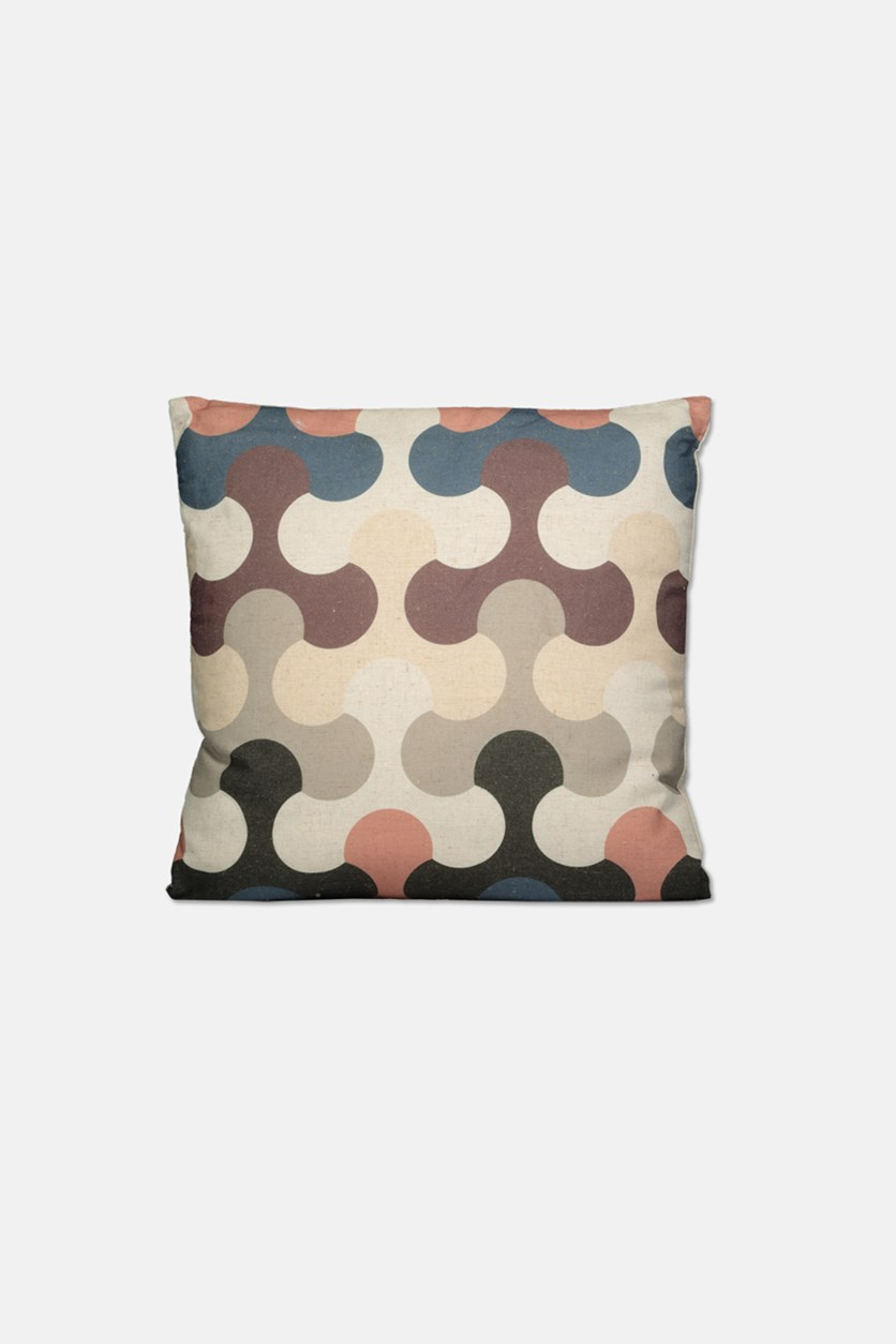 Graphic Square Pillow, Beige Combo