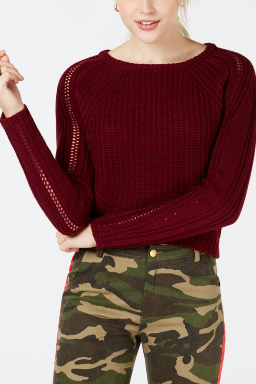 Juniors Long Sleeve Cropped Sweater, Burgundy