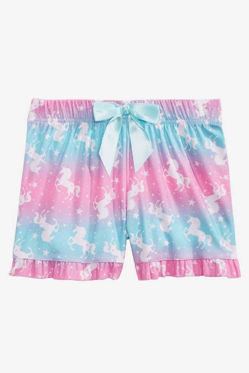 Girls Printed Pajama Shorts, Pink/Aqua