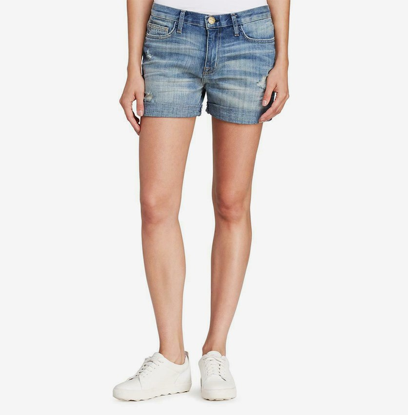 Women's Fringe Boyfriend Denim Shorts, Wash Blue