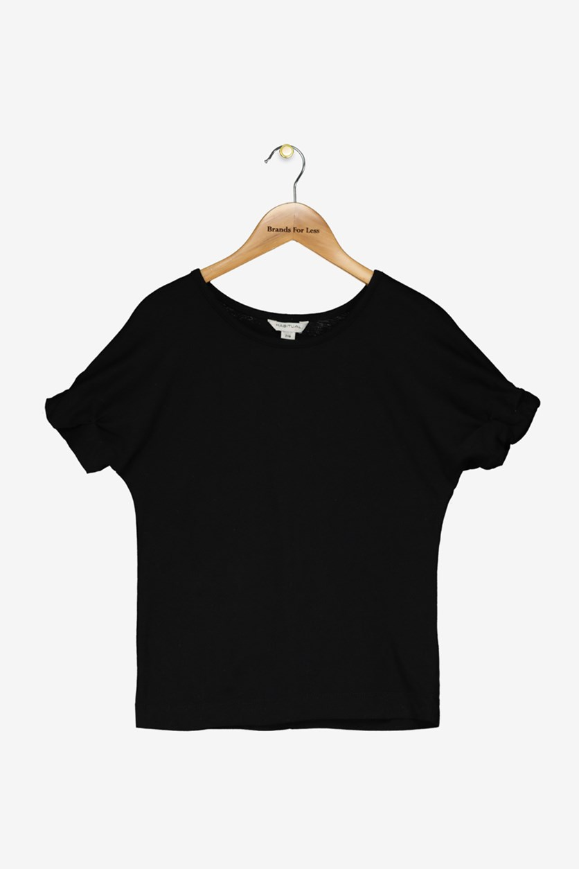 Girl Teagan Short Sleeve Roll Cuff Top, Black