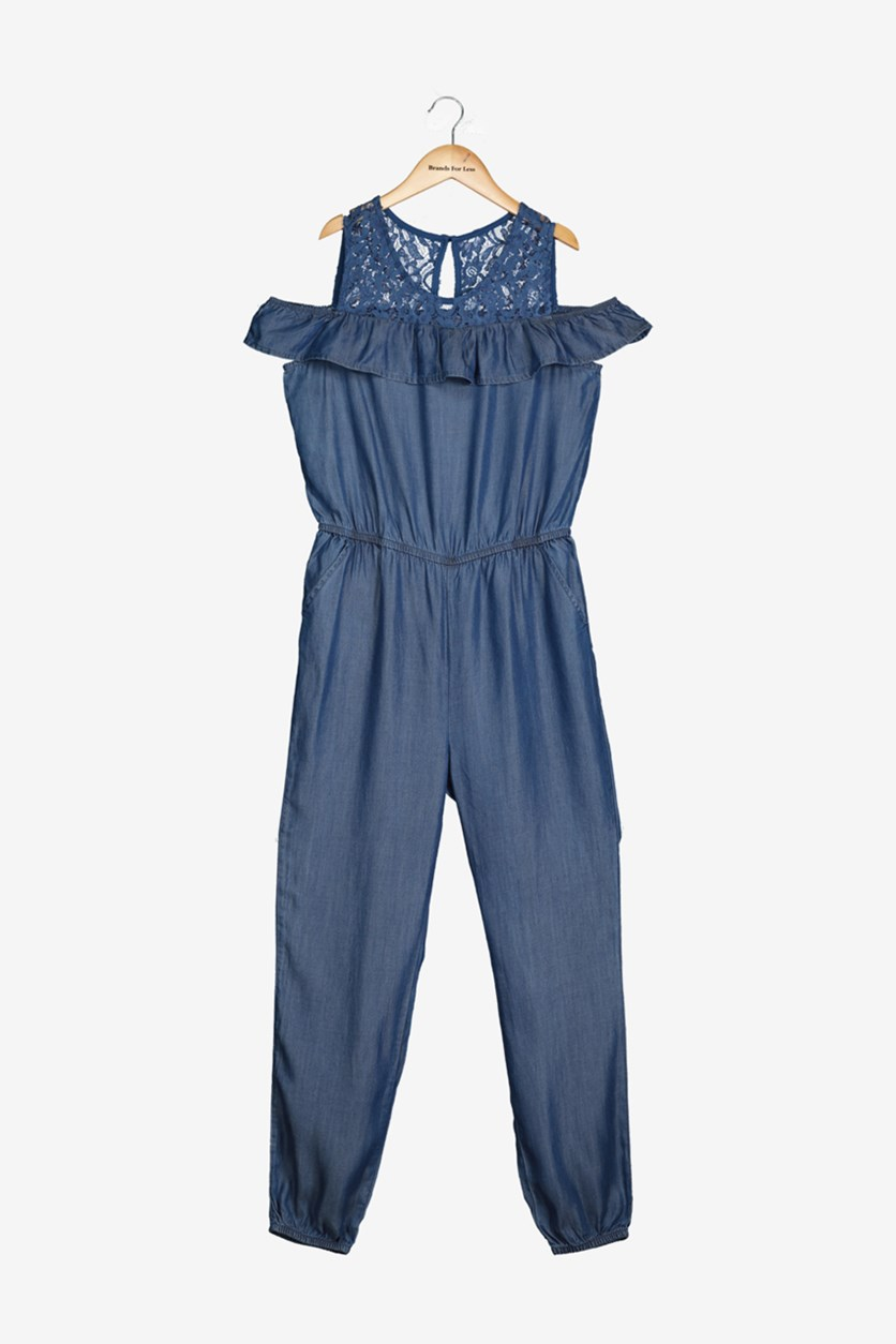 Big Girls Lace Chambray Jumpsuit, Medium Wash