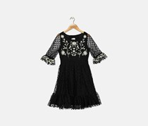 Big Girls Embroidered Dot Mesh Dress, Black