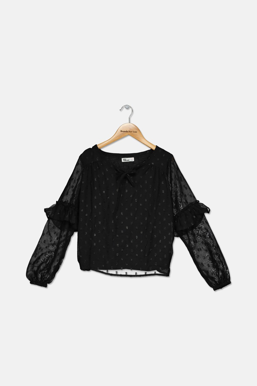 Big Girls Metallic Dot Top, Black