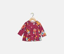 Baby Girls Floral-Print Cotton Tunic, Autumn Red