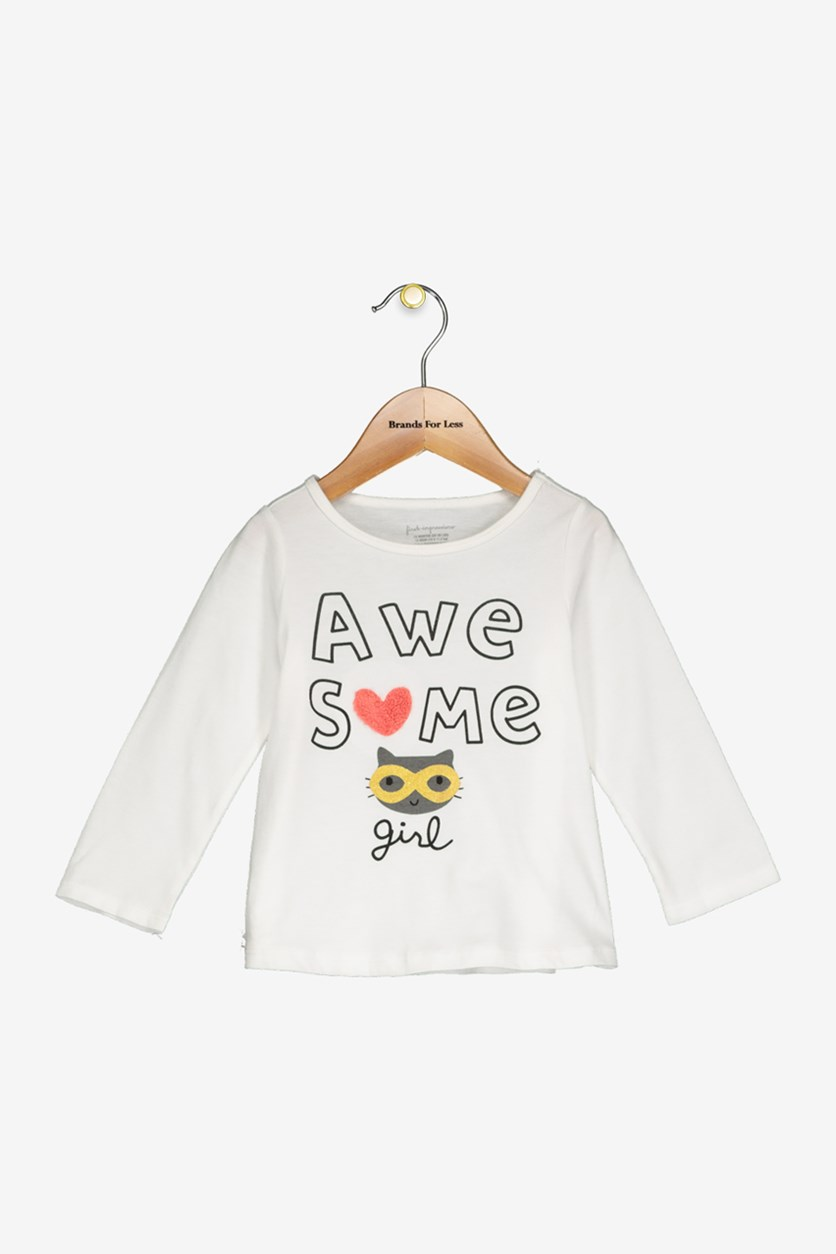 Toddlers Girls Awesome-Print Top, Angel White