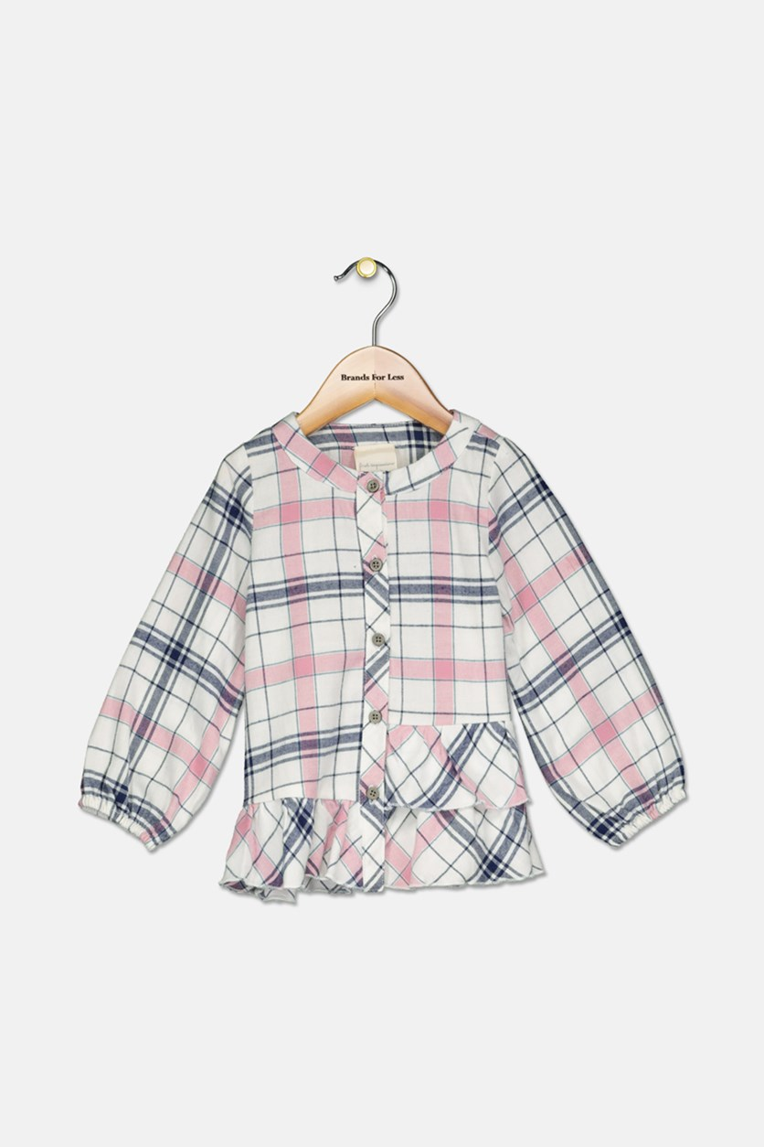 Toddler Girls Flannel Plaid Cotton Tee, White Combo