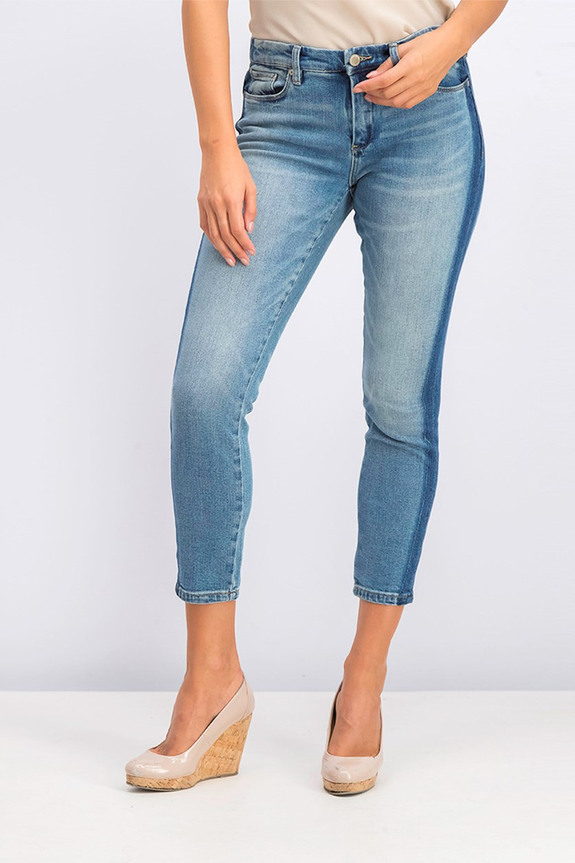 Women's Mid Rise Shadow Stripe Skinny Jeans, Wash Blue