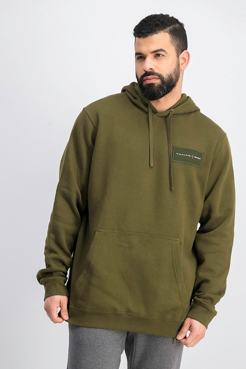 Mens Fleece Pullover Sweater, Olive Green