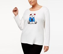 Karen Scott Plus Size Holiday Bear Graphic Top, Off White