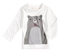 First Impressions Baby Boy's Bear-Print T-Shirt, White/Grey