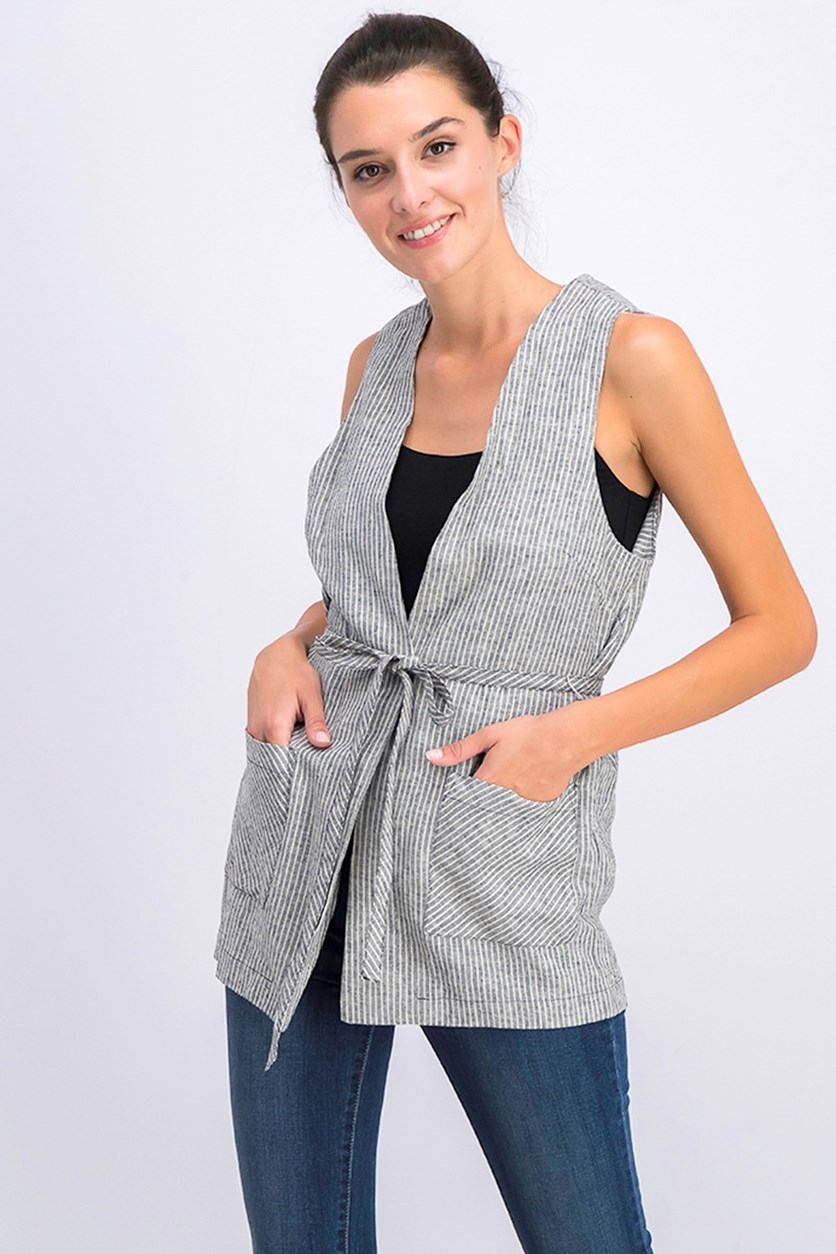Women's  Candy Stripe Patch-Pocket Vest, Black Combo