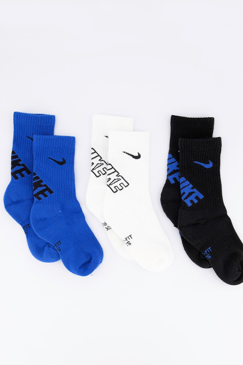Little Boy's 3-Pk. Crew Socks, Blue/Black/White