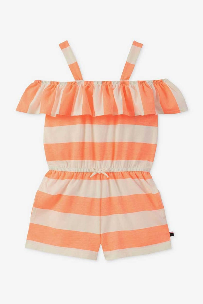 Big Girls Striped Ruffle-Trim Romper, Bright Melon