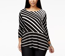 Inc Women's Plus Size Striped Peplum Top, Black/White
