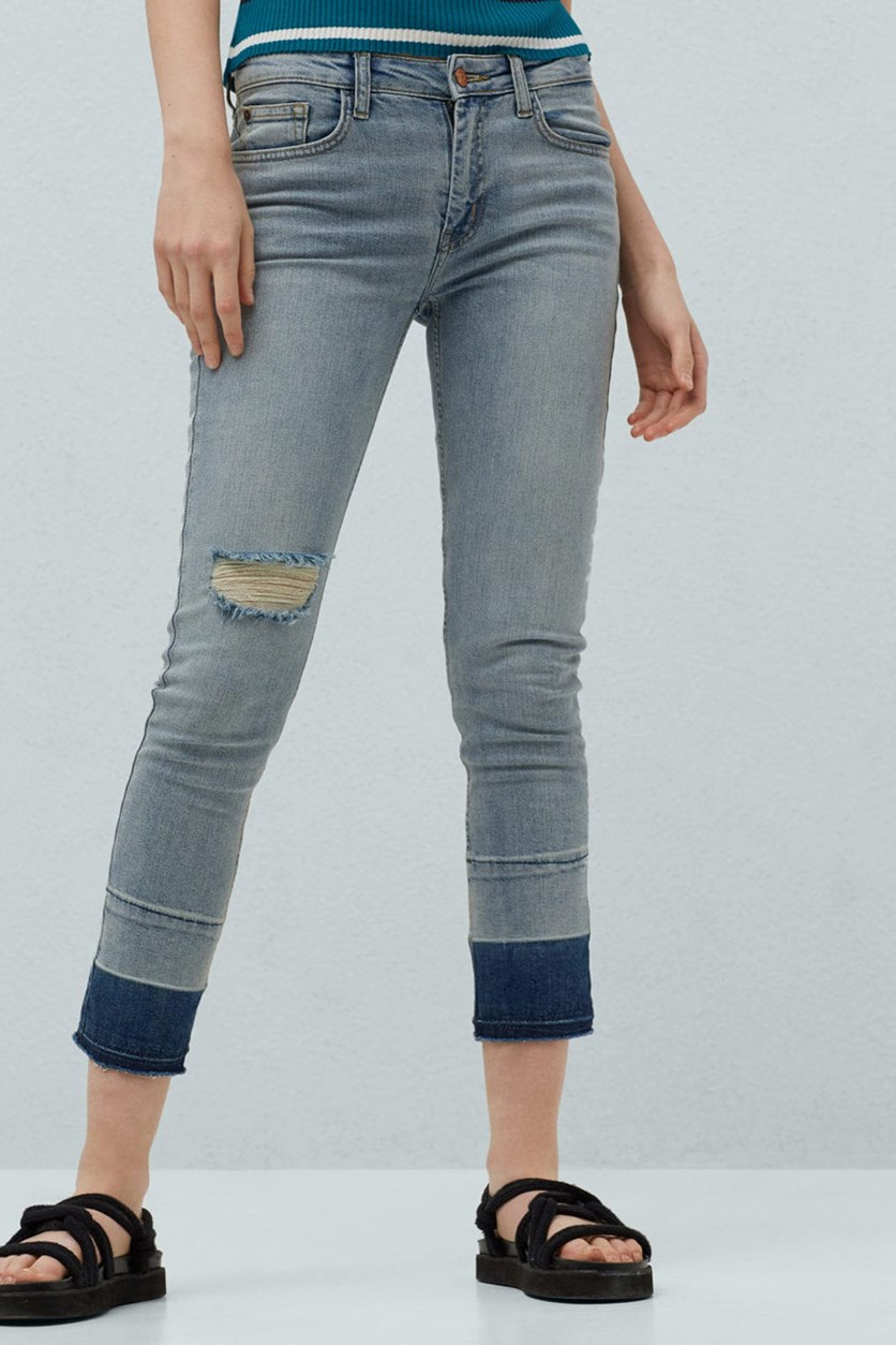 Crop Skinny Isa Jeans, Light Vintage Blue