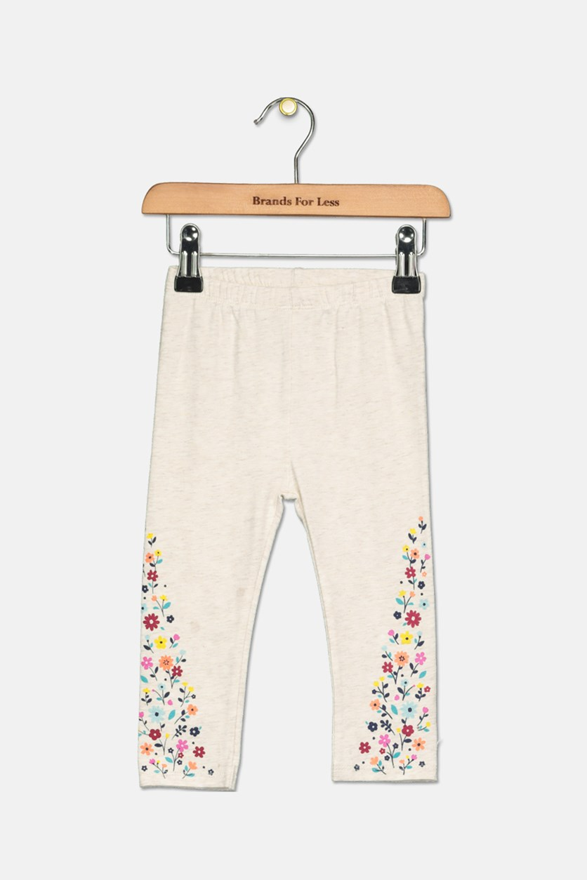 Toddler Girl's Floral-Print Leggings, Heather Dune