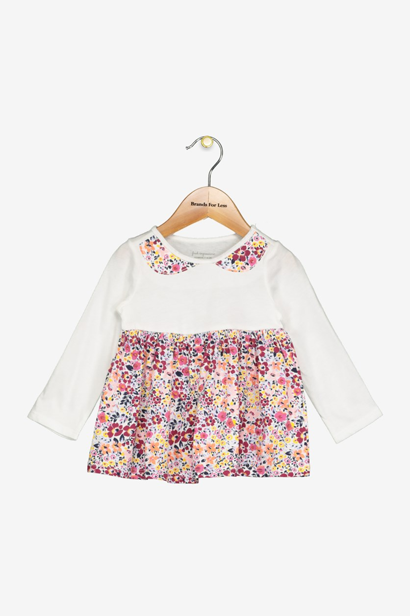 Little Girl's Floral-Print Faux-Collar Cotton Tunic, Angel White