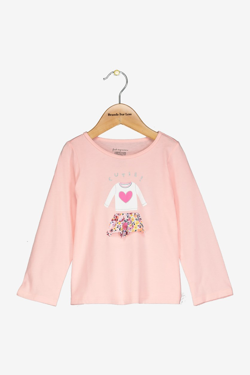 Baby Girls Skirt-Print Cotton T-Shirt, Peach Pink