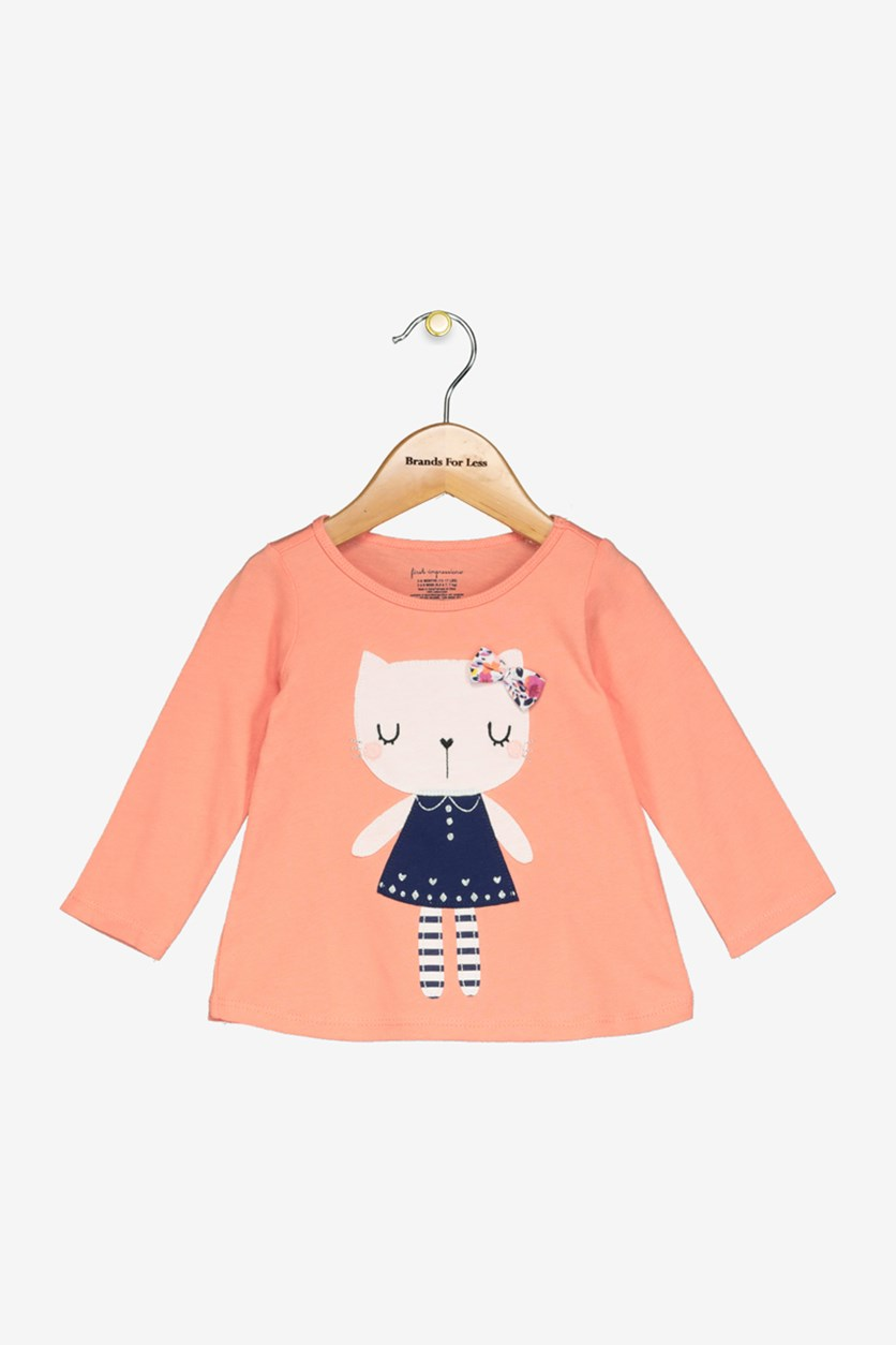 Baby Girls Kitty Cat Cotton T-Shirt, Warm Peach