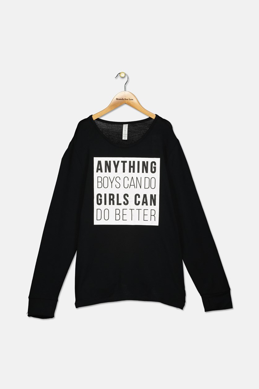Big Girls Plus Graphic-Print Sweatshirt, Noir