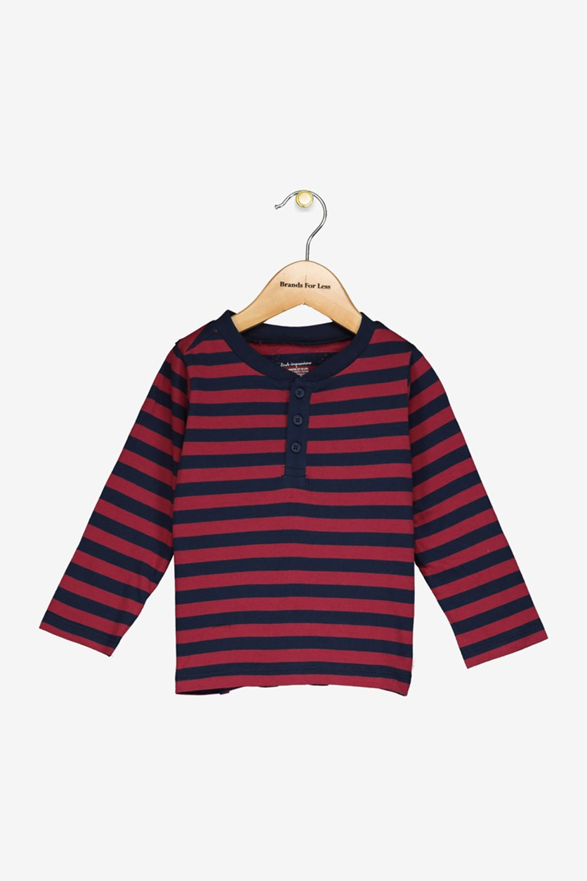 Toddler Boys Stirped Tee, Red/Navy