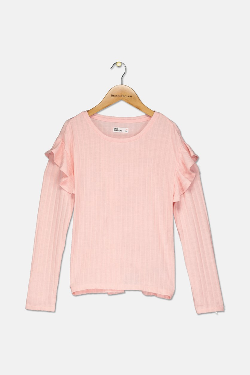 Girls Ruffle-Trim Sweater, Opal Blush