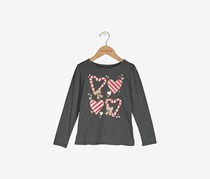 Kid's Girls Candy Cane Shirt, Charcoal Heather
