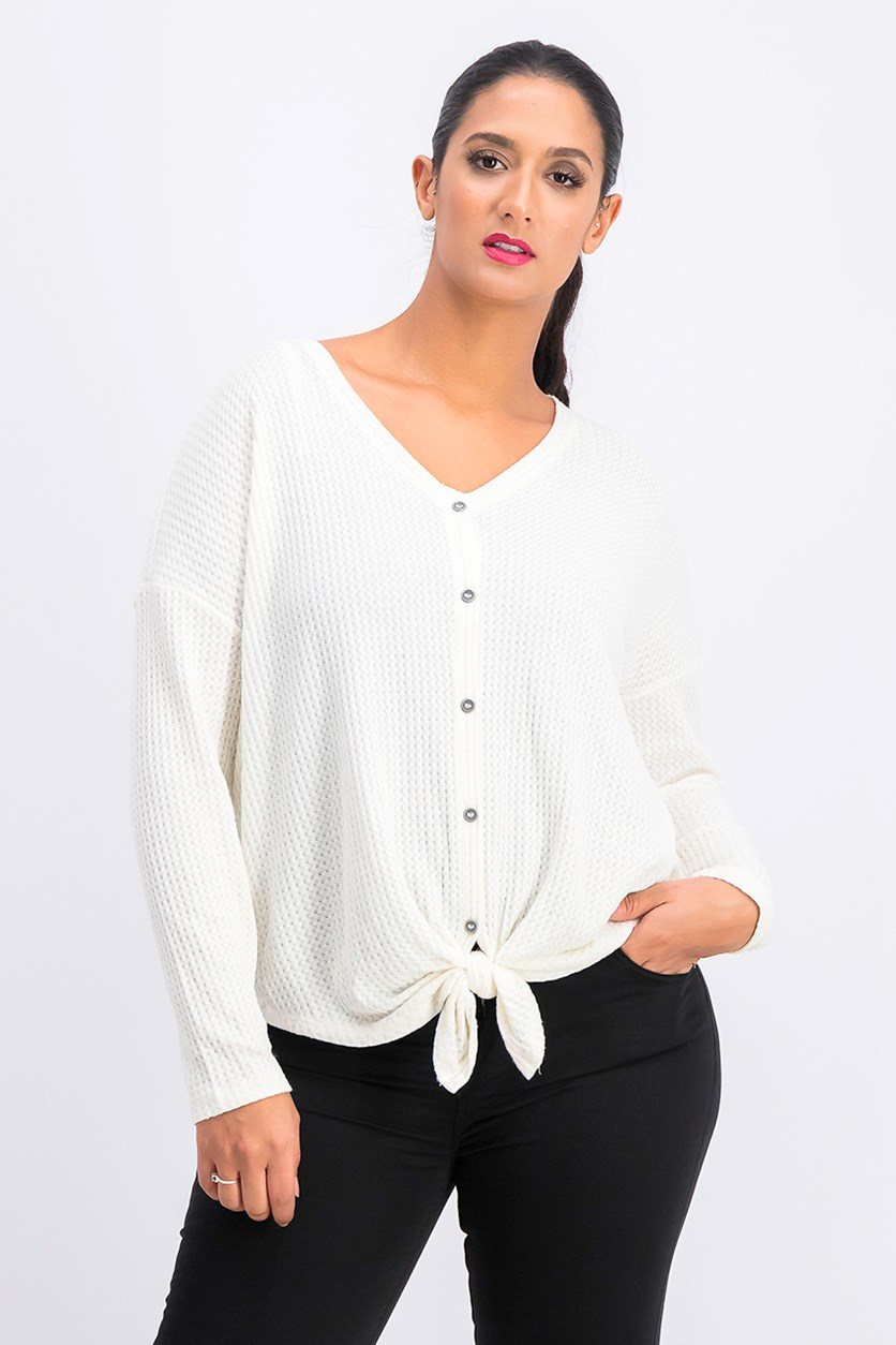Thermal Button-Front Shirt, Warm Ivory