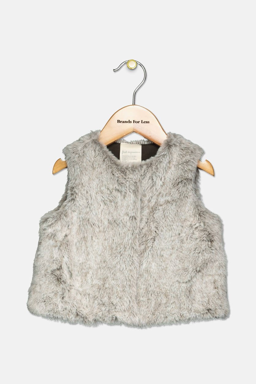 Baby Girls Faux-Fur Vest, Grey Combo