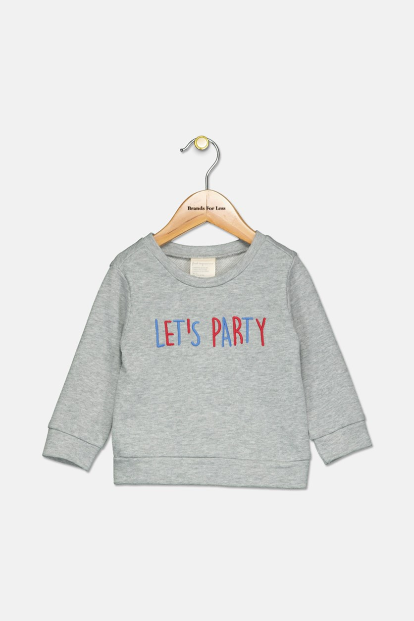 Toddler Girls Metallic Sweatshirt, Heather Sterling
