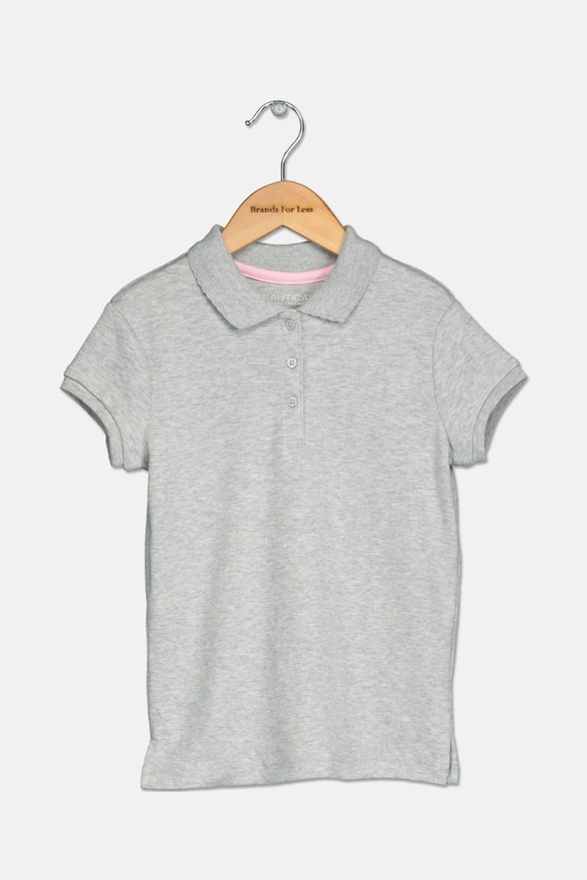 Girls Knit Polo with Picot Collar, Gray