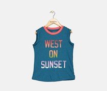 Little Girl's Graphic Courney Tank, Navy Combo