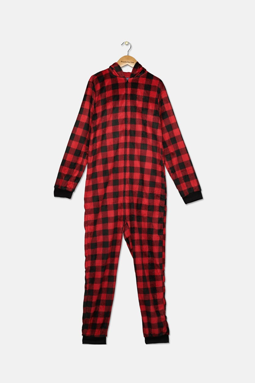 Little & Big Boys Check-Print Bear Hooded One-Piece, Red Combo
