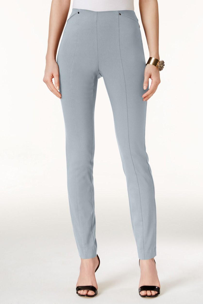 Petite Pull-on Skinny Ankle Pants, City Silver/Grey