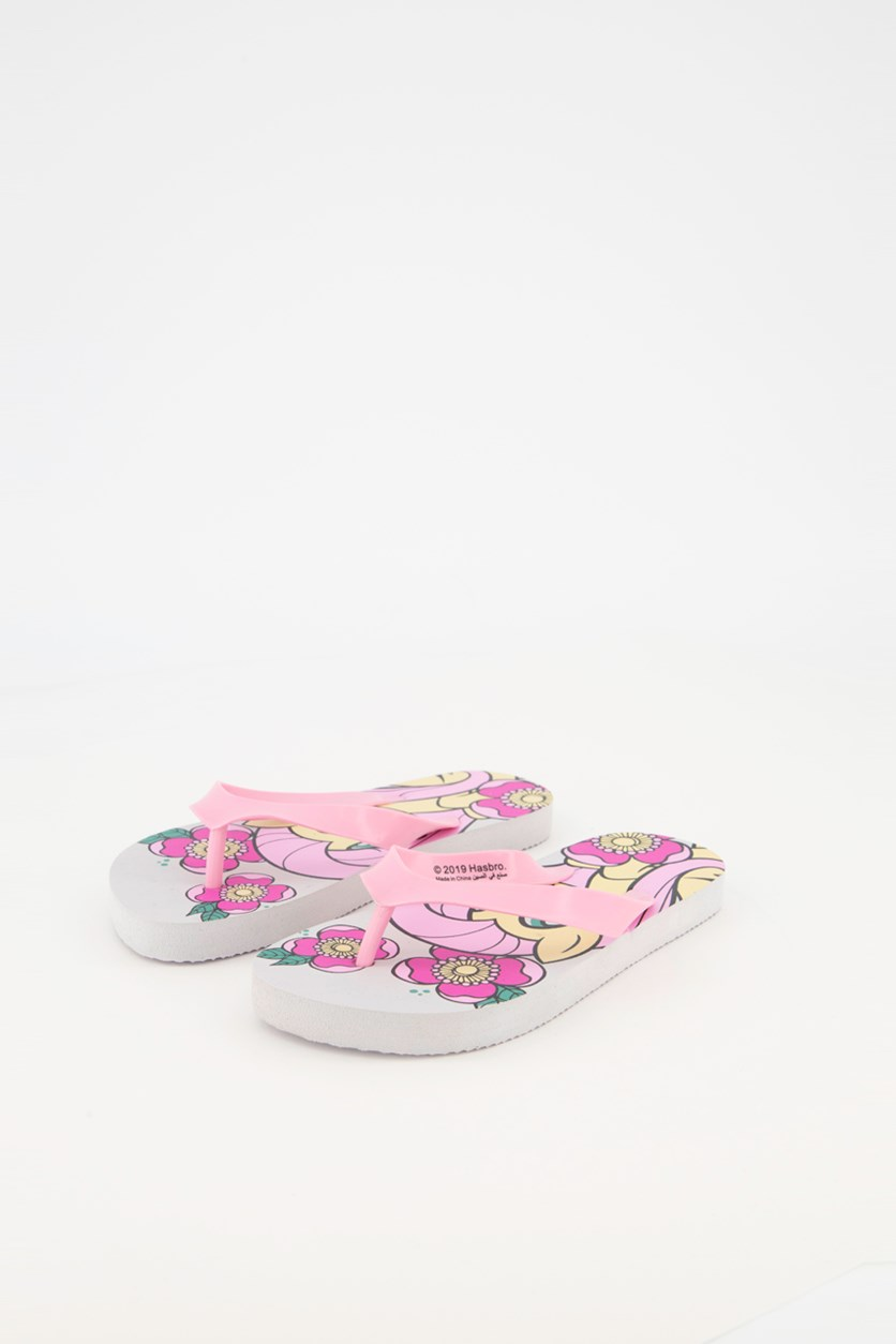 Kids Girls My Little Pony Slippers, Pink/White Combo