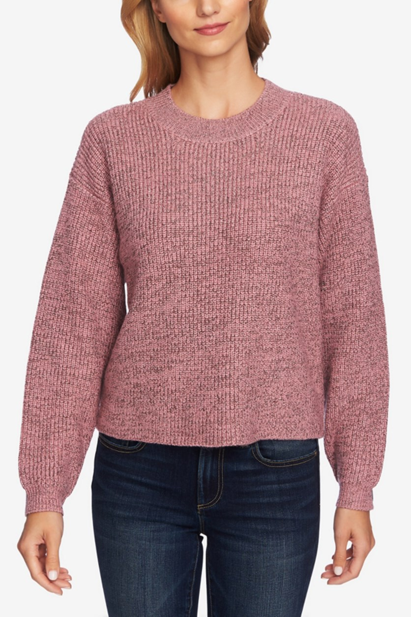 Womens Ribbed Metallic Pullover Sweater, Gold/Pink