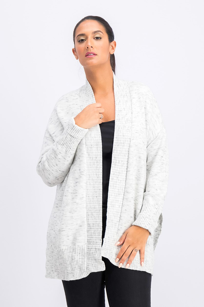 Women's Open Front Cardigan, Light Grey/Ivory
