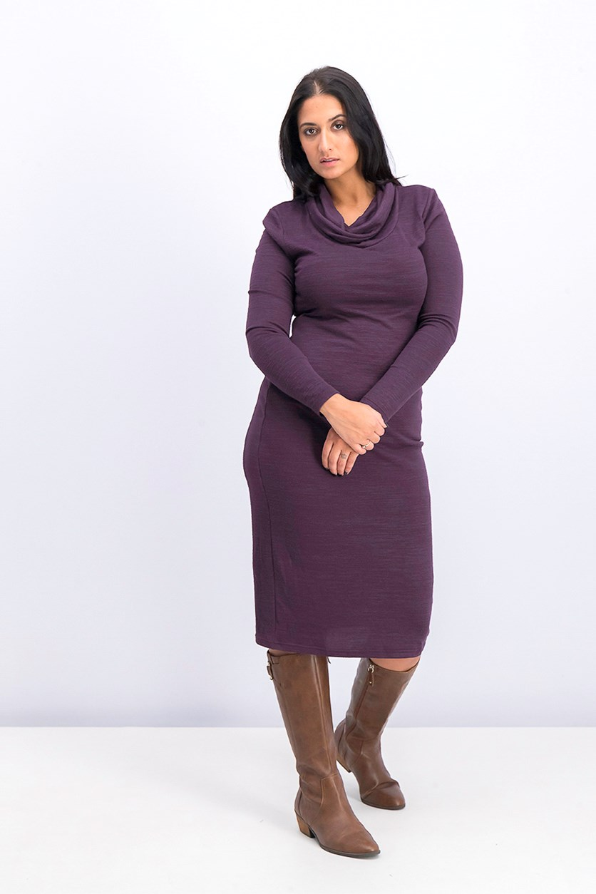 Women's Cowl Neckline Long Sleeve Dress, Purple