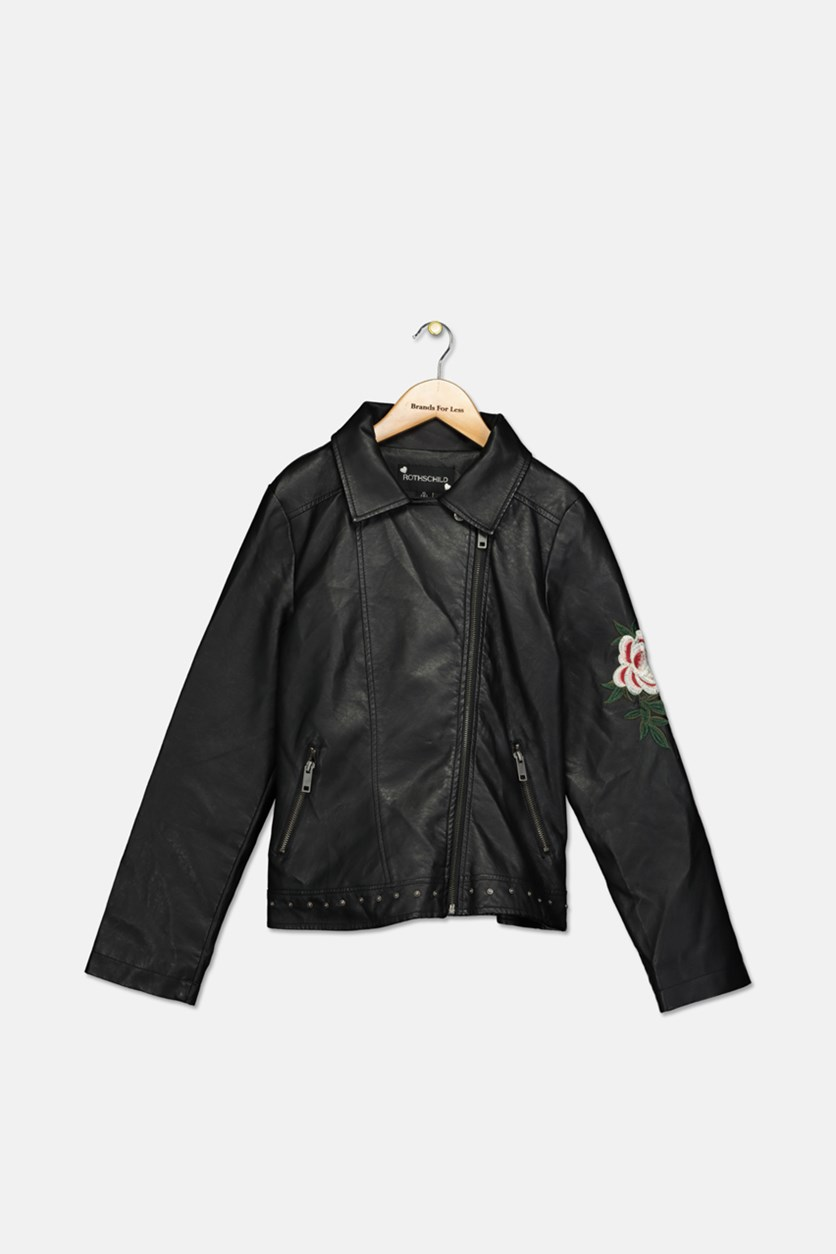 Girls Embroidered Faux-Leather Cropped Moto Jacket, Black