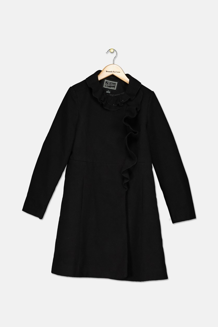Girls Ruffle-Trim Coat, Black