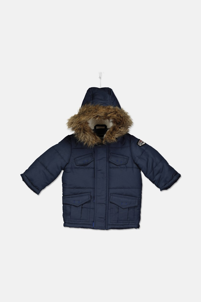 Baby Boys Parka with Faux Fur Trimmed Hood, Navy