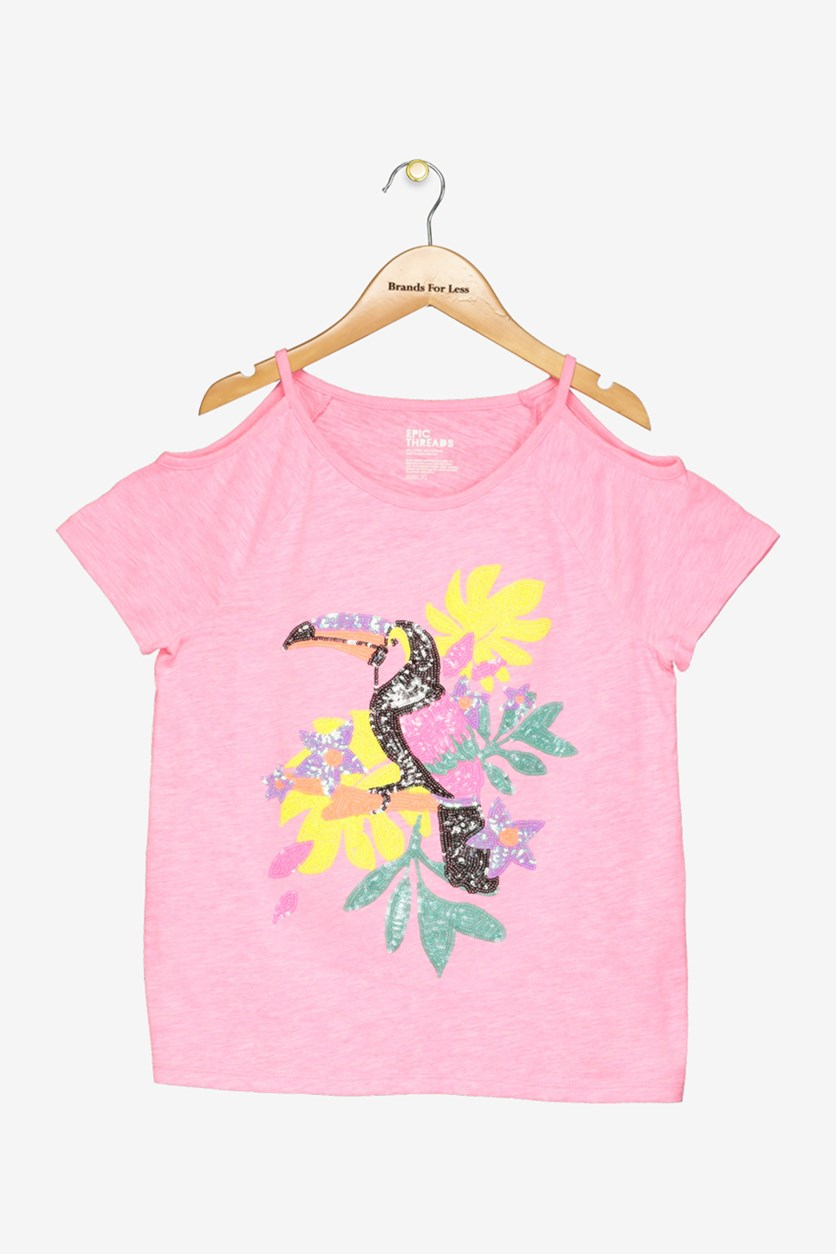 Big Girls Cold Shoulder Parrot Top, Pink Passion