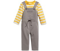 First Impressions Boys' 2-Pc. Striped T-Shirt & Overall Set, Grey/Yellow