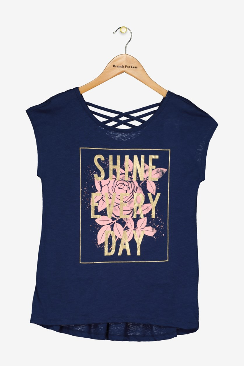 Girls Graphic-Print Crisscross Straps T-Shirt, Medieval Blue