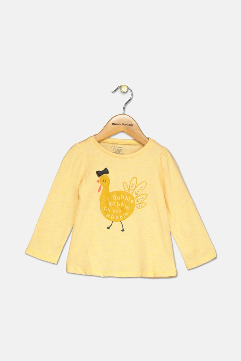 Baby Girls Graphic-Print Cotton Top, Yellow Daisy Heather
