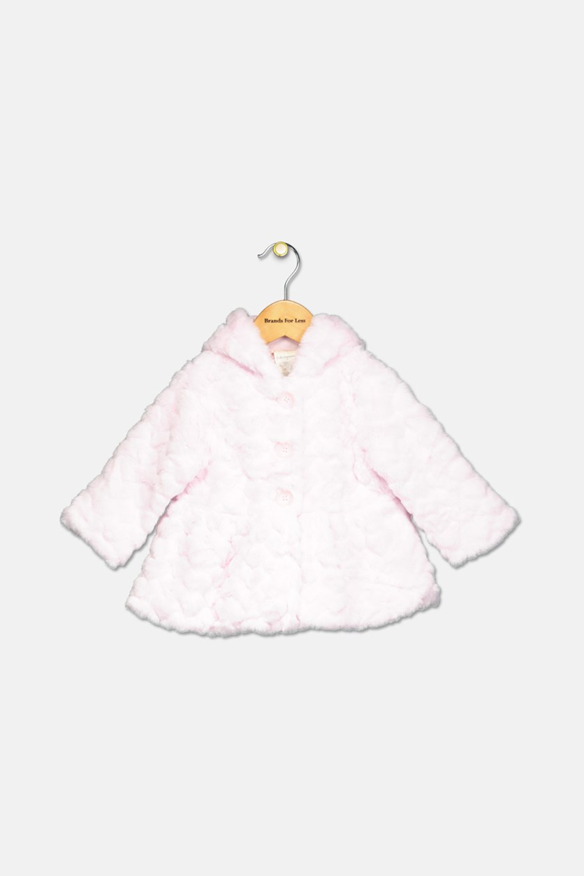Baby Girls Hooded Faux-Fur Hearts Coat, Pink Bud