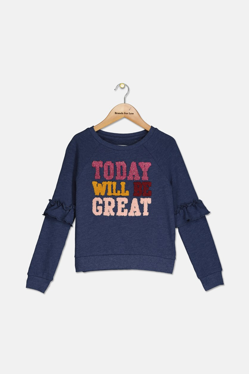 Big Girls Ruffle-Sleeve Sweatshirt, Navy