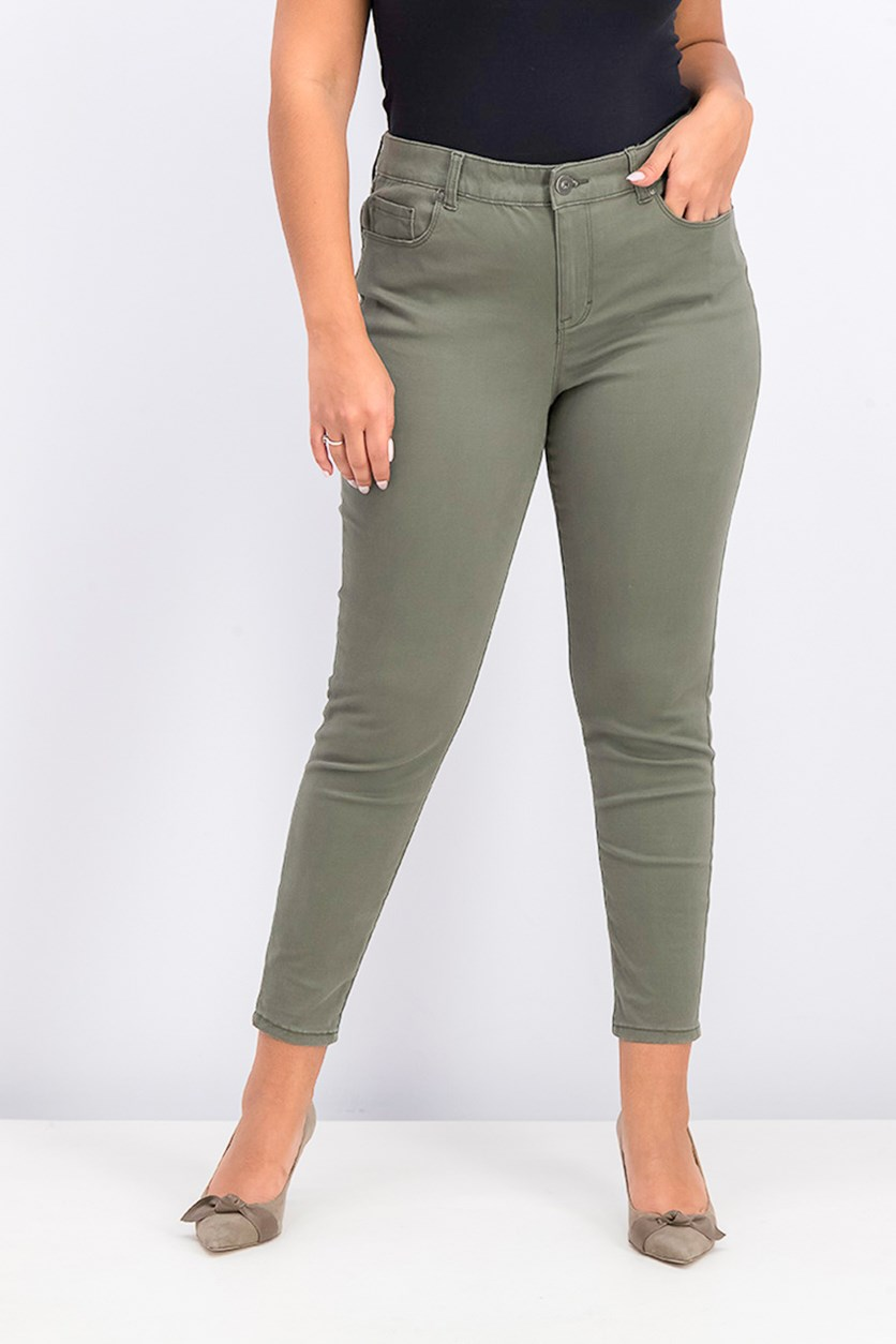 Super-Skinny Brushed Ankle Jeans, Olive Night